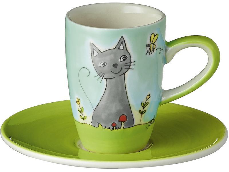 Espressotasse Katze in Blumenwiese