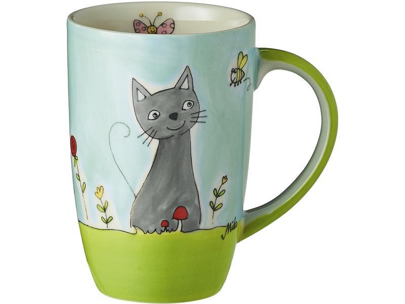 Kaffeetasse Katze in Blumenwiese